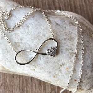 New!Sterling Silver Infinity Heart Necklace